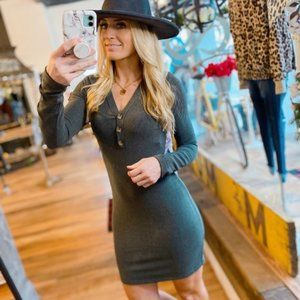 THE ONE I LOVE FITTED DRESS-CHARCOAL
